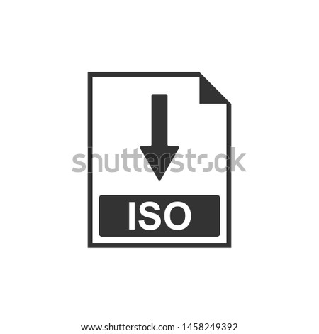 ISO file document icon. Download ISO button icon isolated. Flat design
