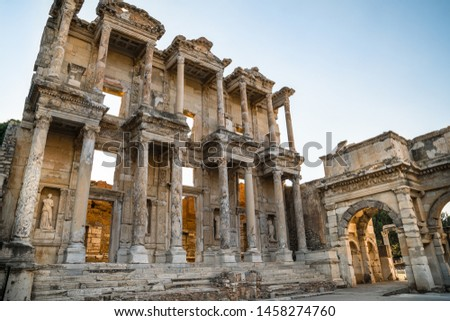 Celsius Library in ancient city Ephesus (Efes). Most visited ancient city in Turkey. Selcuk, Izmir TURKEY #1458274760