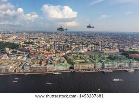 Saint- Petersburg, Russia/ 07.20.2019  Training of the air part of the Navy parade in Saint-Petersburg #1458287681
