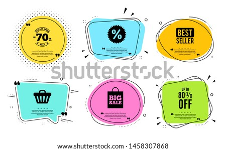 Up to 80% off Sale. Best seller, quote text. Discount offer price sign. Special offer symbol. Save 80 percentages. Quotation bubble. Banner badge, texting quote boxes. Discount tag text. Vector #1458307868