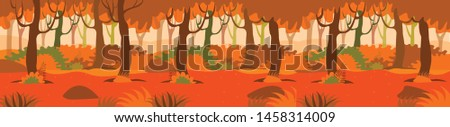 Vector illustration of an autumn forest background #1458314009