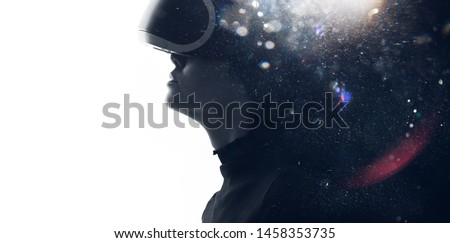 Double exposure of female face. Abstract black and white woman portrait. Digital art. Girl in glasses of virtual reality. Augmented reality, dream, future technology, game concept. VR. #1458353735