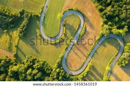 Drone aerial view - windy road in summer #1458361019