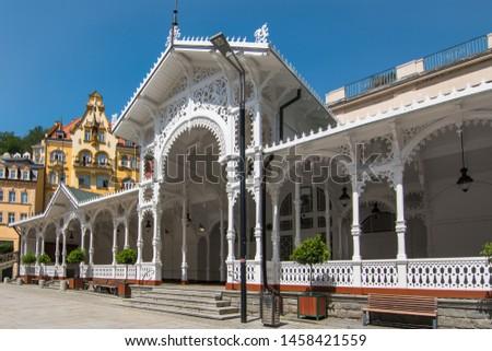 View of the Beautiful Market Colonnade (Tržní kolonáda) at Karlovy Vary - Karlovy Vary, Czech Republic #1458421559