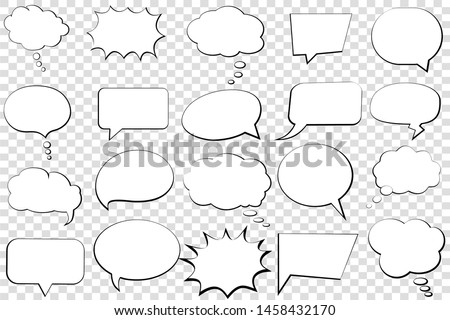 Comic speech bubble isolated sticker vector icon. Empty cartoon bubble speech tag icons. Cloud bubble speech design for text, thought, talk, message, dialogue. Balloon bubble empty speech textbox #1458432170