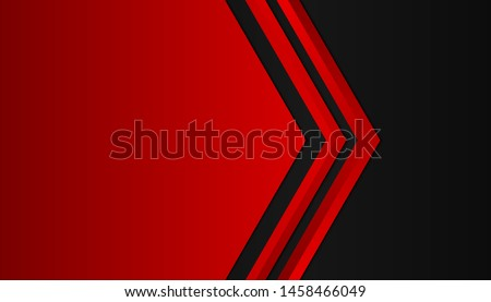 Modern 3d geometry shapes black lines with red borders on dark background. Luxurious bright red lines with metallic effect. Vector Illustration Royalty-Free Stock Photo #1458466049