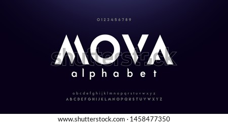 Abstract digital modern alphabet fonts. Typography technology electronic dance music future creative font. vector illustraion Royalty-Free Stock Photo #1458477350