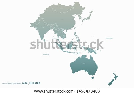 asia map. oceania map. high quality vector countries map of South pacific and asia. asia countries Royalty-Free Stock Photo #1458478403