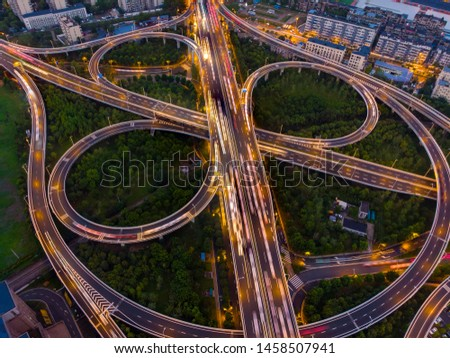 Wuhan city sunset and night aerial photography scenery in summer #1458507941