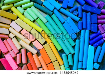 Chalk stick various colors close up, rainbow colorful chalk pastel for preschool children, kid stationary for art painting education, equality or lgbt gay pride flag or beautiful life concept #1458545069