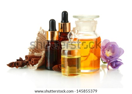 Bottles with ingredients for the perfume, isolated on white #145855379