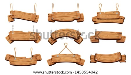 Wooden banners. Blank signboards with chains ropes and bolts vector tablet banners. Wood blank banner hanging, empty signboard illustration #1458554042
