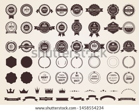 Vintage badges. Emblem premium luxury logo in retro style arrows frames vector template badges collection. Emblem and badge vintage, decoration logotype parts illustration #1458554234