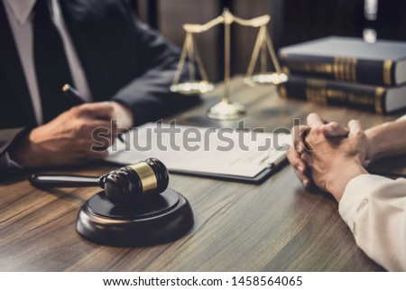 Good service cooperation, Consultation of Businesswoman and Male lawyer or judge counselor having team meeting with client, Law and Legal services concept. #1458564065