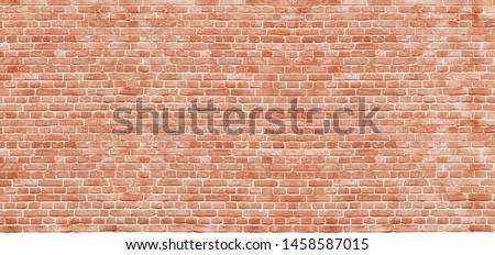 Panoramic background of wide old red brick wall texture. Home or office design backdrop #1458587015