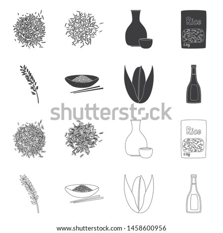 Isolated object of crop and ecological logo. Collection of crop and cooking vector icon for stock. #1458600956