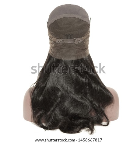 Long body wave wavy black human hair weaves extensions lace wigs Royalty-Free Stock Photo #1458667817