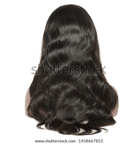 Long body wave wavy black human hair weaves extensions lace wigs Royalty-Free Stock Photo #1458667853