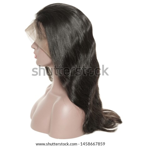 Long body wave wavy black human hair weaves extensions lace wigs Royalty-Free Stock Photo #1458667859