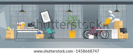 Flat Cartoon Coworking Office with Accessories in Boxes, Paper Documents Pile, Digital Equipment and Furniture. Relocation and Move to New Address, Changing Place Location. Vector Illustration #1458668747