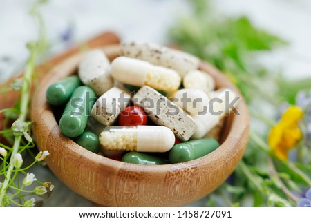 Natural suplements pills, alternative medicine with herbal plants extracts pills, herbal medicine, homeopathy organic super food suplements #1458727091