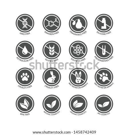 Cosmetics ingredients free circle vector stamp label. Cosmetics packaging badge set, fragrance free, silicone free, bio, organic cosmetics.