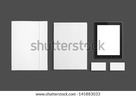 Blank Stationery set isolated on grey. Consist of Business cards, A4 letterheads, Folder, Tablet PC. #145883033