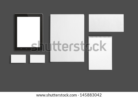 Blank Stationery set isolated on grey. Consist of Business cards, A4 letterheads, Notebook, Tablet PC and Envelopes. #145883042