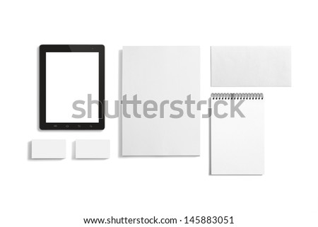 Blank Stationery set isolated on white with soft shadows. Consist of Business cards, A4 letterheads, Notebook, Tablet PC and Envelopes. #145883051
