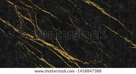 black marble with golden veins ,Black marbel natural pattern for background, abstract black white and gold, black and yellow marble, , hi gloss marble stone texture for digital wall tiles design. #1458847388