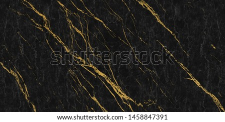 black marble with golden veins ,Black marbel natural pattern for background, abstract black white and gold, black and yellow marble, hi gloss marble stone texture of digital wall tiles design.  #1458847391