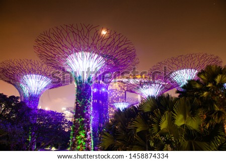 SINGAPORE, SINGAPORE - MARCH 2019: Supertrees illuminated for light show in gardens by the bay #1458874334