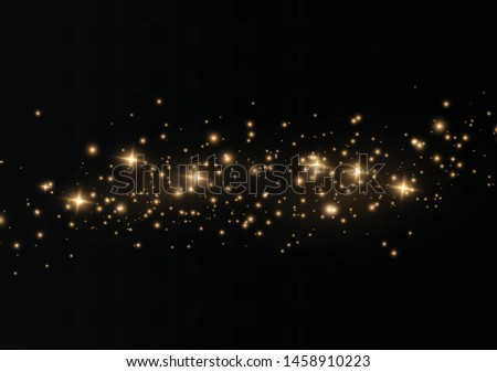 The dust sparks and golden stars shine with special light. Vector sparkles on a transparent background. Christmas light effect. Sparkling magical dust particles. #1458910223