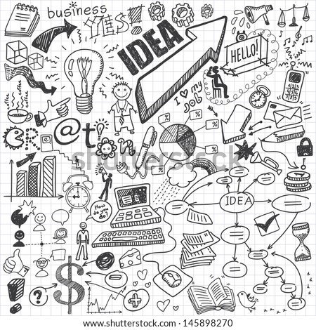 Business doodles Royalty-Free Stock Photo #145898270