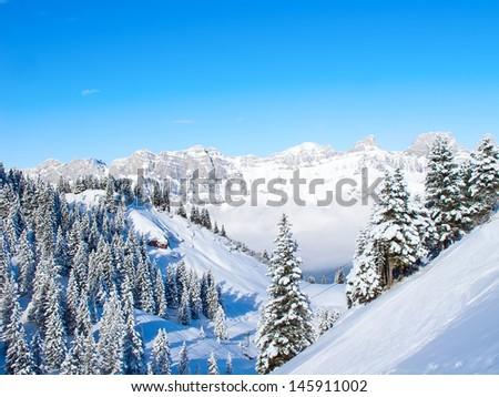 Slope on the skiing resort Flumserberg. Switzerland #145911002