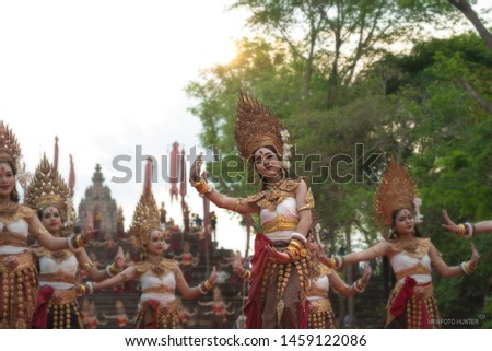Burirum Province ,Thailand -04/06/2019 ;The actors are dressed in traditional Khmer dance. The annual festival up Phanom Rung. #1459122086