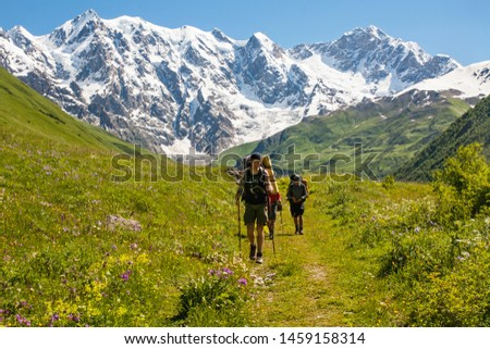 mt Lahla, Svaneti / Georgia - July 14 2016: Tattooed hiker walking on a wildflowers meadow around high snowy mountains #1459158314