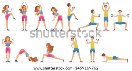 Young man and woman different gymnastic poses and yoga asana set isolated on white background. Healthy lifestyle sport cartoon illustration.