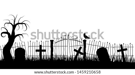 Halloween Graveyard Fence Silhouette with a Raven and Tombstones