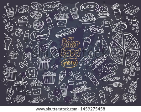 Set of fast food doodles on chalkboard. Vector illustration. Perfect for menu or food package design. Royalty-Free Stock Photo #1459275458