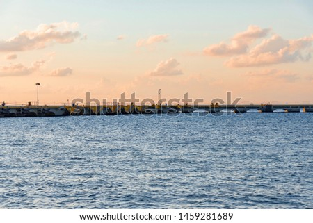 Cozumel, Mexico - February 13, 2019: sunset over the Cozumel Bay, beautiful Caribbean sea in Mexico #1459281689
