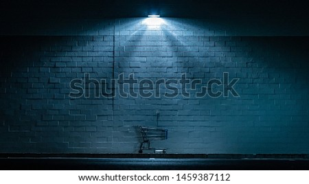 Shopping cart abandoned in the dark under outdoor light Royalty-Free Stock Photo #1459387112