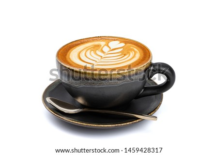 Side view of hot latte coffee with latte art in a vintage matt black cup and saucer isolated on white background with clipping path inside. Image stacking techniques. #1459428317