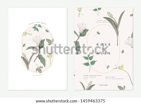 Flowers and foliage wedding invitation card template design, Anise magnolia flowers and various green leaves on light brown #1459463375