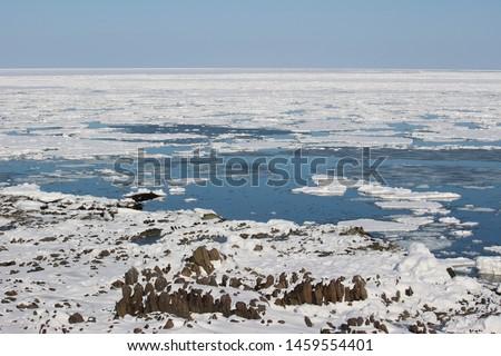 Winter seaside landscape of Okhotsk, Hokkaido, Japan #1459554401