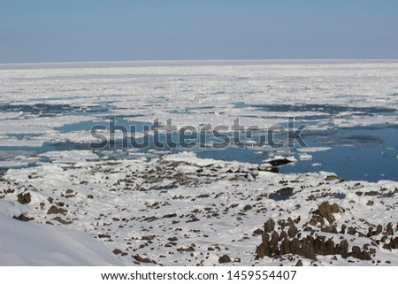 Winter seaside landscape of Okhotsk, Hokkaido, Japan #1459554407