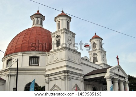 "Historical Blendug Church or Immanuel Church in ""Kota Lama"" Semarang, Indonesia. #1459585163"