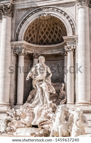 The famous Trevi Fountain or Fontana di Trevi at Piazza Trevi, Rome. Built in 1762, designed by Nicola Salvi. #1459637240