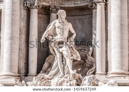 The famous Trevi Fountain or Fontana di Trevi at Piazza Trevi, Rome. Built in 1762, designed by Nicola Salvi. #1459637249