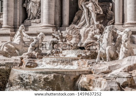 The famous Trevi Fountain or Fontana di Trevi at Piazza Trevi, Rome. Built in 1762, designed by Nicola Salvi. #1459637252